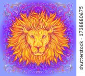 patterned ornate lion head....   Shutterstock .eps vector #1738880675