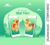 selamat hari raya idul fitri is ... | Shutterstock .eps vector #1738914842