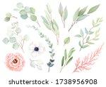 set of flowers rose and white... | Shutterstock .eps vector #1738956908