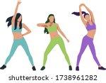 fit girls doing dance aerobics  ... | Shutterstock .eps vector #1738961282