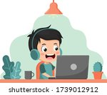 stay home concept. kid using... | Shutterstock .eps vector #1739012912