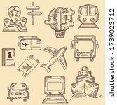 Hand Drawn Icon Set. Transport...