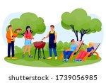 barbecue outdoor party. happy...   Shutterstock .eps vector #1739056985