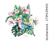 colorful bird with floral...   Shutterstock . vector #1739139452