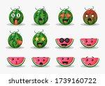 set of cute watermelon design | Shutterstock .eps vector #1739160722