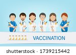 vaccination concept with doctor ... | Shutterstock .eps vector #1739215442