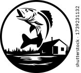 walleye fish jumping on lake...   Shutterstock .eps vector #1739231132