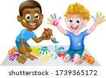 Cartoon Little Boy Kids Playing ...