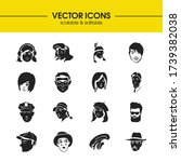 avatar icons set with hipster...