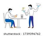man sitting in restaurant order ...   Shutterstock .eps vector #1739396762