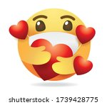 mask emoticon vector.round... | Shutterstock .eps vector #1739428775