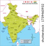 india map. political map of... | Shutterstock .eps vector #1739460932