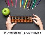 Boy Playing With Soroban Abacus....