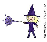 cartoon witch girl casting spell | Shutterstock .eps vector #173951042