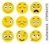 set of yellow different emotion ... | Shutterstock .eps vector #1739564372