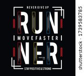 athletic sport run typography... | Shutterstock .eps vector #1739583785