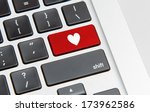 white keyboard with heart sign | Shutterstock . vector #173962586