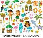 tropical clipart set. hawaii ... | Shutterstock .eps vector #1739649092