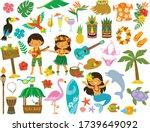 tropical clipart set. hawaii ... | Shutterstock .eps vector #1739649092