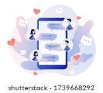 online dating. tiny people... | Shutterstock .eps vector #1739668292