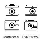 black camera icons set in flat...
