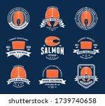 vector salmon logo on a blue...   Shutterstock .eps vector #1739740658