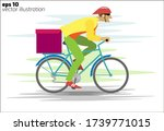 courier on a bicycle with a box ... | Shutterstock .eps vector #1739771015