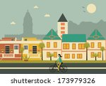 woman on bicycle in cape town... | Shutterstock .eps vector #173979326