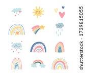 cute kids nursery set. hand... | Shutterstock .eps vector #1739815055