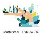 vector illustration  palm holds ... | Shutterstock .eps vector #1739852342