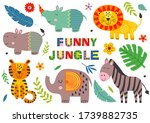 set of isolated funny jungle...   Shutterstock .eps vector #1739882735