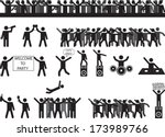 party people silhouettes... | Shutterstock .eps vector #173989766