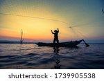 Fisherman Net Sunset Silhouette ...