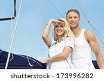 attractive couple standing on... | Shutterstock . vector #173996282