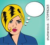 cute retro woman in comics... | Shutterstock .eps vector #173998265