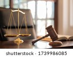 Judge Gavel  Law Books And...