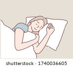 young woman sleeping on the bed ... | Shutterstock .eps vector #1740036605
