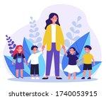 kindergarten teacher walking... | Shutterstock .eps vector #1740053915
