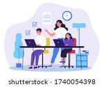 female teacher explaining... | Shutterstock .eps vector #1740054398