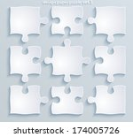 flat paper puzzle. set of 9...