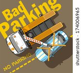 bad parking. tow truck removes... | Shutterstock .eps vector #174006965
