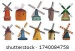 Windmill Isolated Cartoon Set...