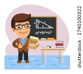 cartoon math teacher with a...   Shutterstock .eps vector #1740100322