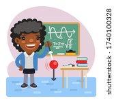 cartoon physics teacher in the...   Shutterstock .eps vector #1740100328