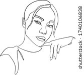 one line girl or woman portrait.... | Shutterstock .eps vector #1740106838