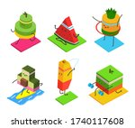 cute fruit doing fitness and...   Shutterstock .eps vector #1740117608