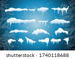 set of isolated snow cap. snowy ... | Shutterstock .eps vector #1740118688