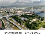 ST-PETERSBURG, RUSSIA - JULY 19, 2007:  Road interchange Ring Road and Avenue Obukhovskoy Oborony before  bridge Bolshoi Obuhovsky. Bridge is under construction second part. Bridge over the River - stock photo