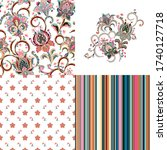 set of seamless floral pattern...   Shutterstock . vector #1740127718