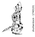 illustration of  ink girl | Shutterstock . vector #1740131